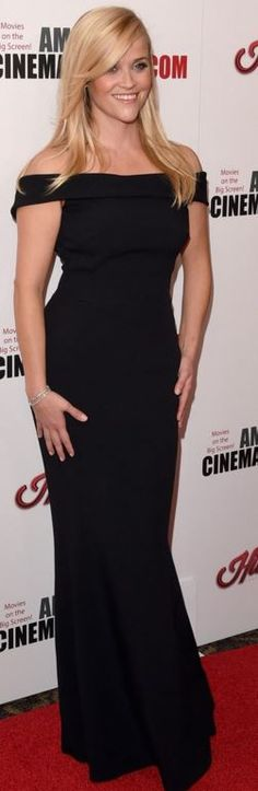 Who made  Reese Witherspoon's black off shoulder gown?