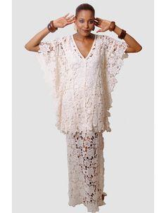 Bat sleeve v-neck casual handmade hole lace floor length wedding dresses HY-019 - Bridal wedding dresses - Only Love