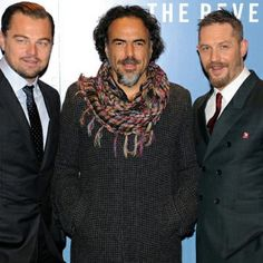 Tom Hardy with Leonardo DiCaprio and Alejandro Inarritu - UK Premiere of 'The Revenant' at Empire Leicester Square on January 14, 2016 in London, England.
