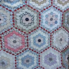 Vintage Flower Garden Quilt Top Hand Sewn Muted Colors Calico Shirting 64 x 82 | eBay