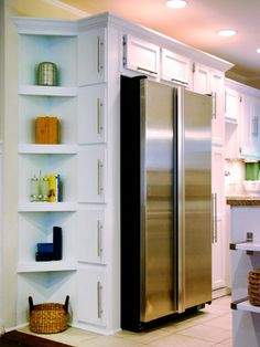 Kitchens need plenty of storage options, so utilize every unused corner by adding a vertical row of shelves. This unit offers a great space for displaying cookbooks and spices, and it's all within reach from the refrigerator. Design by John Gidding Kitchen Corner, Kitchen Redo, New Kitchen, Kitchen Remodel, Kitchen Design, Kitchen Cupboard, Kitchen Storage, Kitchen Island, Corner Storage