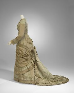 Miss Scott, Afternoon dress, ca.1878. Silk, cotton, metal, baleen. Gift of Mr J. D. Oswald, 1970 / National Gallery of Victoria ngv.vic.gov.au | thefashionarchives.org