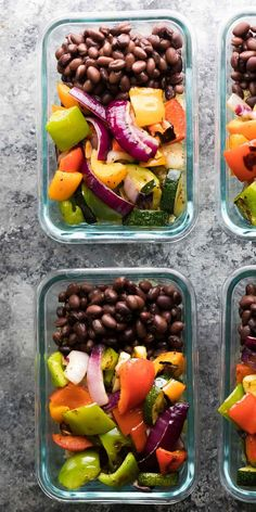 Make these Grilled Veggie Black Bean Meal Prep Bowls on the weekend and you will have four work lu&; Make these Grilled Veggie Black Bean Meal Prep Bowls on the weekend and you will have four work lu&; Great Vegetarian Meals, Lunch Meal Prep, Meal Prep Bowls, Healthy Meal Prep, Healthy Snacks, Vegetarian Recipes, Healthy Eating, Healthy Recipes, Keto Recipes