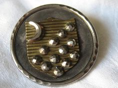 Large ANTIQUE Metal Shield with Cut Steel in Steel Cup by abandc