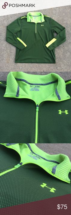 Men's Under Armour Golf Pullover. Sz XL. LIKE NEW This pullover is in like new condition!! Only worn a few a few times. Open to offers!! Don't like the price? Submit and offer!! Always open to negotiating. Neon green. Super comfy!! Under Armour Sweaters Zip Up