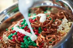 Yay - a salty holiday snack with NO PEANUTS! :) Holiday Popcorn Snack - Very good, easy to make and the kids loved it. Had this on Christmas day to snack on all day! Christmas Snacks, Holiday Treats, Holiday Recipes, Christmas Popcorn, Christmas Goodies, Christmas Mix, Christmas Crunch, Christmas Pretzels, Holiday Drinks