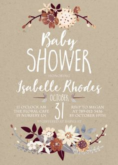 Fall Baby Shower Invitation Printable Autumn by INVITEDbyAudriana