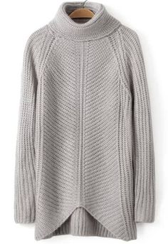 Grey High Neck Long Sleeve Knit Sweater - abaday.com