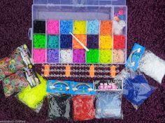 Large Box 9000 Rainbow Rubber Loom Band Bracelet Making Kit Set Rainbow Colours