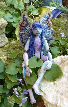 Fairy doll OOAK cloth body jointed blue by cherrycottagecrafts, £80.00