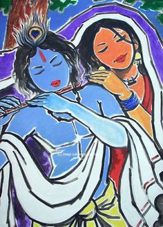 Items similar to Lord Krishna playing flute with Radha Rani on Etsy Easy Rangoli Designs Diwali, Simple Rangoli, Krishna Radha, Lord Krishna, Krishna Painting, Indian Folk Art, Indian Paintings, Watercolor Paintings, Art Drawings