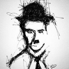 """Tanrıyla aram iyi, benim sorunum insanlarla."" -Charlie Chaplin  #sketch #charliechaplin"
