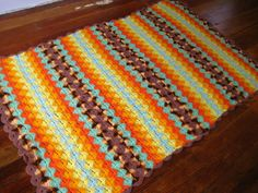 Vintage Hand Crocheted Afghan.