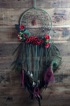 Red Rose & Green Dream Catcher with Cherry Aura Quartz and Peacock Feathers