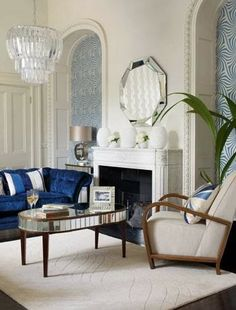 Art Deco Living Room: Get Into the Blue luxurious interior design ideas perfect for your projects. #interiors #design #homedecor www.covetlounge.net