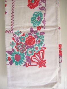 Vintage Cotton Tablecloth Mid Century by AletaFordBakerDesign, $8.00