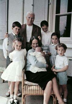 The Chaplin Family: Charlie Chaplin with Michael, Geraldine, Victoria, Josephine, Eugene and Oona with newborn Jane in 1957.
