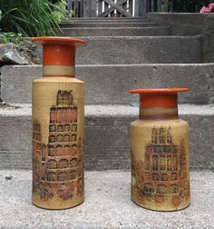 Vtg Raymor Bitossi Large Pair Orange Pottery Incised Vase Italy Buildings Campus #Bitossi