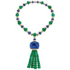 Bulgari Elizabeth Taylor inspired emerald and sapphire necklace. The colours in this piece remind me of Egyptian jewels, perhaps a wink to Elizabeth Taylors visits to the boutique while she was filming Cleopatra in the city in the early 1960s.