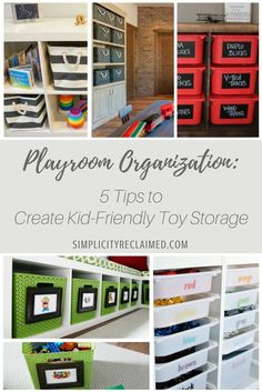 Lindsey from Simplicity Reclaimed Professional Organizing shares 5 tips to create kid-friendly toy storage in the playroom.