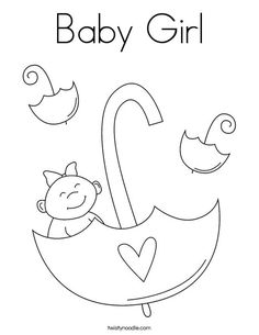 baby girl coloring page that you can customize and print for kids