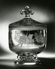 """Steuben Merry-Go-Round Bowl  Princess Elizabeth received two other gifts created by Steuben Glass: an engraved """"Merry-Go-Round"""" bowl from President and Mrs. Truman and 12 engraved Audubon plates from Ambassador and Mrs. Lewis Douglas."""