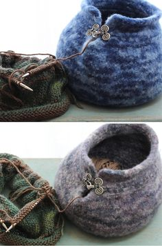 Knitting Pattern for Felted Yarn Bowl - 3 patterns for creating your own small yarn bowls — with worsted, chunky, and super chunky yarn. All of the yarn bowls are between 5″ and 6″ tall and 6″ to 7″ wide at the base. The bowls will usually hold one or two skeins of yarn and have an opening to feed yarn through. Great for multi-color yarn! Completed yarn bowls are also available from the designer.