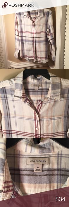 NWOT Calvin Klein Jeans Plaid Shirt -New Without Tags -Smoke Free Home  -Beautiful Design -Great Brand Calvin Klein Jeans Tops Button Down Shirts