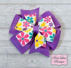 Purple Flowers Hair Bow Pinwheel Hair Bow by PinkLiliesBoutique