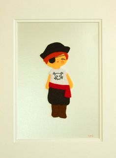 Pirate Nursery, Pirate Decoration, Kids Pirate Wall Art, Pirate Wall Decor, Boys Bedroom Art, Framed Embroidered Felt Pirate. £48.00, via Etsy.