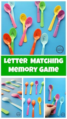 Preschool Letter Matching Game - Planning Playtime : Letter Matching Memory Game Looking for a fun way to learn letters? The Preschool Letter Matching Game is awesome! All you need is spoons and a marker to play a fun memory game. Preschool Learning Activities, Alphabet Activities, Preschool Activities, Alphabet Games For Kindergarten, Teaching Resources, Letter Sound Activities, Indoor Activities, Teaching The Alphabet, Learning Letters