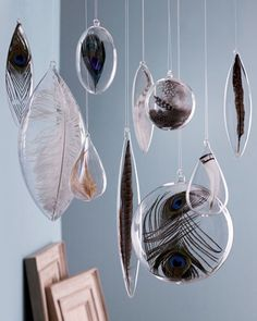 put peacock feathers inside glass ornaments and hang