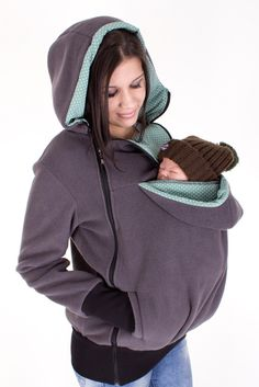Baby carrying jacket 3 in 1 for mother + baby TRIO fleece // anthracite + mint green with dots by VivalaMamaBerlin on Etsy https://www.etsy.com/listing/237462283/baby-carrying-jacket-3-in-1-for-mother
