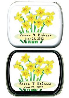 lovely idea for a 10th anniversary party favor Anniversary Party Favors, 10 Anniversary, Spa Party Favors, Mint Tins, Flower Seeds, Daffodils, Spring Wedding, Spring Flowers, Lunch Box