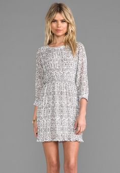 ANINE BING Floral Print Dress in Grey