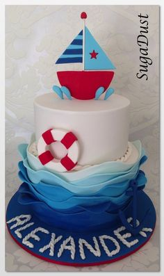 One of my favourite cakes so far, loved making every bit of it. Nautical Cake, Nautical Theme, Fondant Cakes, Cupcake Cakes, Confirmation Cakes, Just Cakes, Cake Tutorial, Pretty Cakes, Creative Cakes