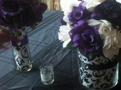 black white and purple centerpieces - use paper inside glass pieces, and then add flowers Lavender Centerpieces, Purple Wedding Decorations, White Centerpiece, Unique Centerpieces, Wedding Colors, Wedding Flowers, Sister Wedding, Our Wedding, Dream Wedding
