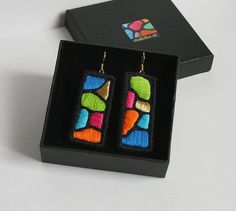 Textile Jewelry, Embroidery Jewelry, Fabric Jewelry, Beaded Embroidery, Jewellery, Girl With Pearl Earring, Fabric Earrings, Handmade Jewelry Designs, Jewelry Patterns