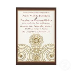 Mehndi Lace (5x7 Wedding Invitation)  Elegant design by Leslie Sigal Javorek, inspired by Mehndi (Henna Tattoos) created by the amazing Hindu women artists in India & Pakistan, featuring delicate gold & tone-on-tone lace on a warm ivory background w/ a saddle-brown frame. Customizable text. Coordinating items @ www.zazzle.com/themarryingtype+mehndi+gifts?rf=238155573613991097&tc=pnt