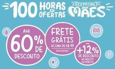 Especial de ofertas para o Dia das Mães no site da Saraiva oferecendo categorias com produtos até 60% mais baratos, frete grátis acima de R$49 e ainda +12%