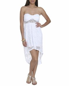 lace strapless dress high low from wet seal