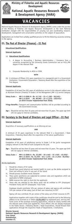 government job vacancies gazette job vacancies in sri lanka director finance secretary to the board directors legal officer national aquatic - Aquatic Director Jobs