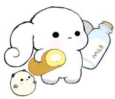 Milk Roll Bunny CHOUPOPO & Chouding - Creators' Stickers