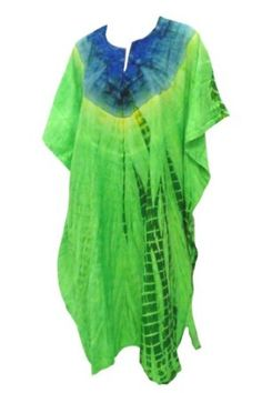 La Leela Green Blue Tie Dye Printed Plus Size Caftan Kaftan La Leela. $34.99