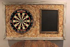 Wine Cork Dartboard Backer and Scoreboard 49 x by OldDogOriginals Small Space Interior Design, Interior Design Living Room, Dartboard Backer, Dartboard Setup, Man Cave Home Bar, Man Room, Game Room Decor, Dart Board, Cork Crafts