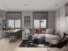 Integração de cozinhas às salas de estar: escolhendo as cores