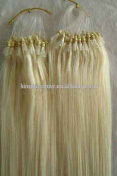 2016 Best Selling White micro rings loop hair product 100% remy human hair with high quality