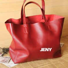 Winered Leather Tote/ Shopper Bag/ iPad Bag/ by LIANGJENYSTUDIO, $89.00