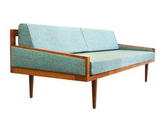 Our perfectly fitted mid-century modern style daybed/sofa with arms is ideal for a small home, apartment, den or office. Remove the back cushions to