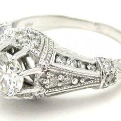 Art Deco Engagement Rings Round Center Stone 6